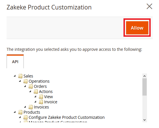Allowing the Magento 2 extension