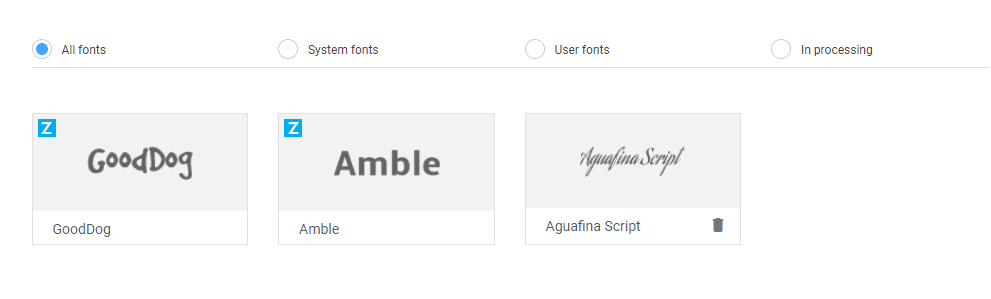 Display of installed fonts
