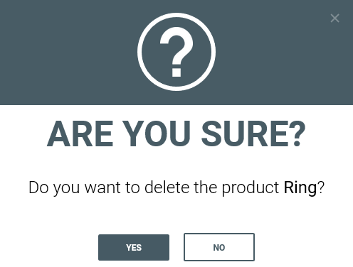 Confirm deleting product