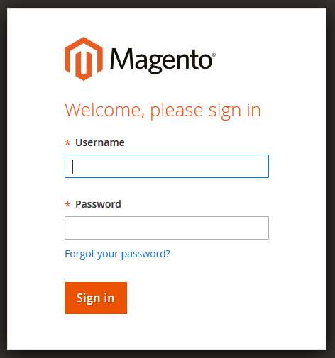 Login on e-commerce Magento 2